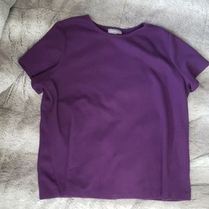 Essentials purple ribbed shirt.